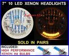 "7"" Xenon H4 10 LED Headlights Dual Function Turn Signal & Running Light -  1"