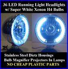 Xenon H4 Stainless Headlights White LED Running Lights Universal Kit Car Truck