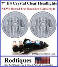 "7"" Round H4 Headlights Crystal Clear DOT SAE ECE Bowed Glass Head Lamps - 4"