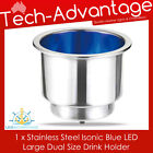 STAINLESS STEEL BLUE LED ILLUMINATED NIGHT BOAT WINE BOTTLE/CUP/DRINK HOLDER