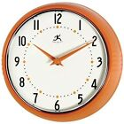 Retro Style Wall Clock Decorative Metal Orange Kitchen Living Room Decor Design