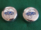 NOS 1970's 80's Vintage CRAGAR S/S Chrome Center Hub Caps Pair 29025