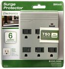 Woods 411528821 6-Outlet 750 Joules Light Grey Surge Protector Wall Adaptor