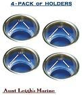 SeaChoice 4-Pack Stainless Steel Recessed Drink Cup Holders Blue LED Lighted