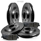 Full Kit Black Slotted Brake Rotors and Ceramic Pads 1991-1992 Lincoln Mark VII