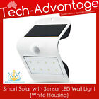 WHITE SMART SOLAR & SENSOR LED WALL MOUNT SECURITY LIGHT - HOME/BOAT/CARAVAN
