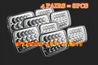 "8X 7X6"" LED Cree Light Bulbs Crystal Clear Sealed Dual Beam Headlamps Headlights"