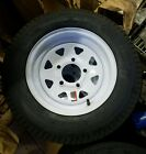 1) 530-12 5.30-12 LRB TOWMASTER Load Range B Trailer Tire White 5 Hole Wheel