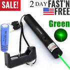 60Miles Bright Green Laser Pointer Pen Rechargeable Visible Beam+Battery+Charger