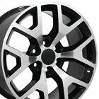 "22"" Rims Fit GM Chevy Sierra Silverado Black Mach'd Wheels 5656"