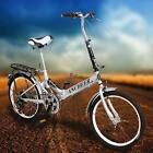 Silver 20 inch Bicycle 6Speed Foldable Folding Bike Cycling School Sports New