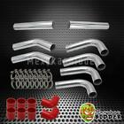 """DIY UNIVERSAL 3"""" CHROME ALUMINUM INTERCOOLER PIPING KIT RED COUPLERS + CLAMPS"""