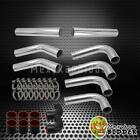 "High Quality 3"" Chrome Aluminum DIY FMIC Turbo Intercooler Piping Kit Black Hose"