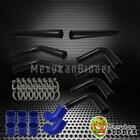 "3"" 76mm Black Aluminum FMIC Intercooler Piping Kit +Blue Hose +Clamp UNIVERSAL"