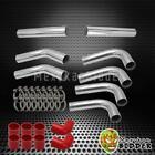 "3"" 76mm Chrome Aluminum FMIC Intercooler Piping Kit +Red Hose +Clamp UNIVERSAL"