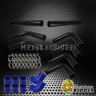 "High Quality 3"" Black Aluminum DIY FMIC Turbo Intercooler Piping Kit Blue Hose"