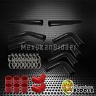 "3"" 76mm Black Aluminum FMIC Intercooler Piping Kit +Red Hose +Clamp UNIVERSAL"
