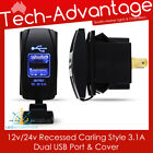 12V-24V 3.1A DUAL USB CHARGER BLUE LED CARLING STYLE SWITCH BOAT/CARAVAN/CAR/4WD