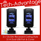 2 X 12V-24V DUAL USB CHARGER BLUE LED CARLING STYLE SWITCH BOAT/CARAVAN/CAR/4WD