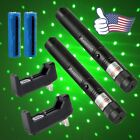 2PC Green Laser Pointer Pen 532nm 2In1 Star Cap Visible Pattern+Battery+Charger