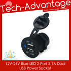 12V-24V RECESSED DUAL 3.1A BLUE LED USB CHARGER POWER SOCKET - BOAT/CARAVAN