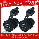 2 X 12V-24V RECESSED DUAL 3.1A BLUE LED USB CHARGER POWER SOCKET - BOAT/CARAVAN