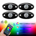 RGB LED Rock Lights+Bluetooth Control,Music Mode Kits for Car Offroad Boat Trail