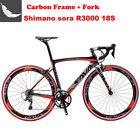 SAVA 700C Road Bike 3K Carbon Fiber Shimano SORA 18S Cycling Complete Bicycle