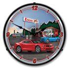 Retro Nostalgic Esso Station Red Blue Chevy Camaro Car Lighted Wall Clock New