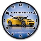Retro Nostalgic Style Chevy G5 Rally Yellow Camaro Car Lighted Wall Clock New