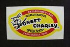 "HONEST CHARLEY SPEED SHOP DECAL STICKER 4 7/8"" x 2 5/8"" NEW"