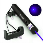Blue Purple Violet Laser Pointer Pen 4mW 30 Miles Rechargeable+ Battery +Charger