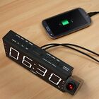 Digital LED Dual Alarm Clock Dimmable Projection AM/FM Radio USB Port Xmas Gifts