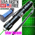 50Miles 4mw 532nm Green Laser Pointer Pen Star Cap Bright+2*Battery+Dual Charger