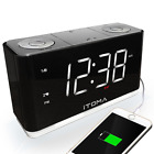 iTOMA Alarm Clock Radio, Digital FM Radio, Dual Alarm, Cell Phone USB Charge Por