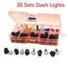 Car Auto 30 Set T5 LED Twist Socket Instrument Panel Cluster Plug Dash Light Mix