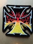 MALTESE OR IRON CROSS WITH FLAMES  BIKER STYLE PATCH. SEW OR IRON ON  PATCH