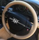 FOR VW GOLF MK6 BEIGE LEATHER STEERING WHEEL COVER BLACK DOUBLE STITCH 2009-2013
