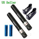30Mile 2PC Military Green Laser Pointer Pen 5mw 532nm Cat Toy+Battery+Charger