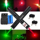 2PC Military Red+Green Laser Pointer Pen 532/650nm Visible Beam + Batt + Charger