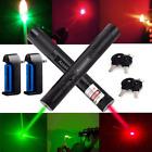 Military 5mw 532/650nm Red+Green Laser Pointer Pen 2X Bright Light+Batt+Charger