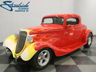 1934 Ford 3 Window Coupe  FORD POWERED 302CI, FIBERGLASS BODY, AOD TRANS, A/C, CLASSIC HOT ROD LOOK!