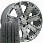 20x8.5 Wheels & Tires Fit Sierra Hyper Black Rim Chrome Insts w/Tires 5661