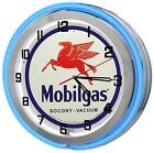 """Mobile Gas 18"""" Blue Double Neon Clock from Redeye Laserworks"""