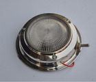 round boat dome light SS metal base on/off switch plastic lens 5""