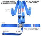 "FLOOR MOUNT 5 POINT RACE HARNESS BLUE LATCH & LINK 3"" WEBBING LETS GO RACING"
