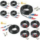 Video Power Cable Cord Bnc Security Camera Wire For Cctv Surveillance 33Ft 4-Pk