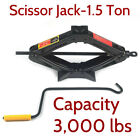 1.5 Ton Rated Scissor Jack Car Lift Support Tool Heavy Duty Steel Crank Handle