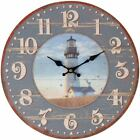 Lily's Home Rustic Wood Country Lighthouse Wall Clock 13 Inch