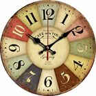 Big Wall Clock Home Office Round Multi Color Decorative Rustic Vintage